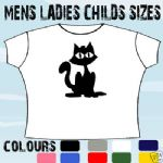 BLACK CAT GOTH T-SHIRT ALL SIZES & COLOURS